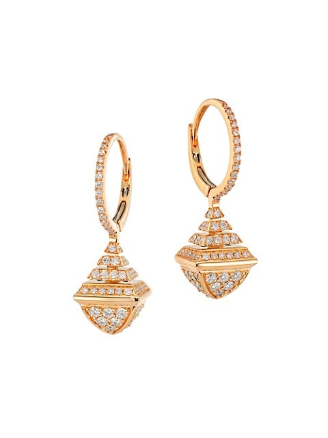 Cleo By Marli Rev 18K Rose Gold & Diamond Mini Drop Earrings