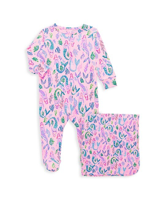 Baby Girl's Joss 2-Piece Footed Pajamas & Blanket Set