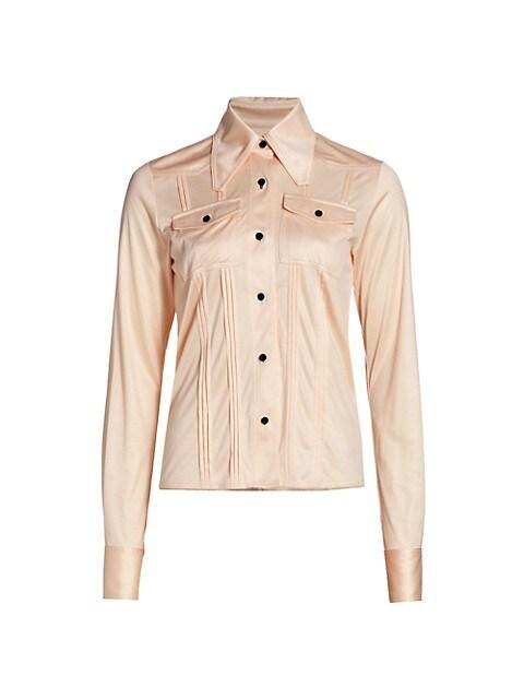 Slim-Fit Pintuck Silk Shirt