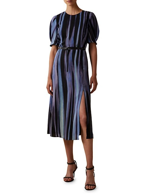 Gorman Puff-Sleeve Silk Midi Dress