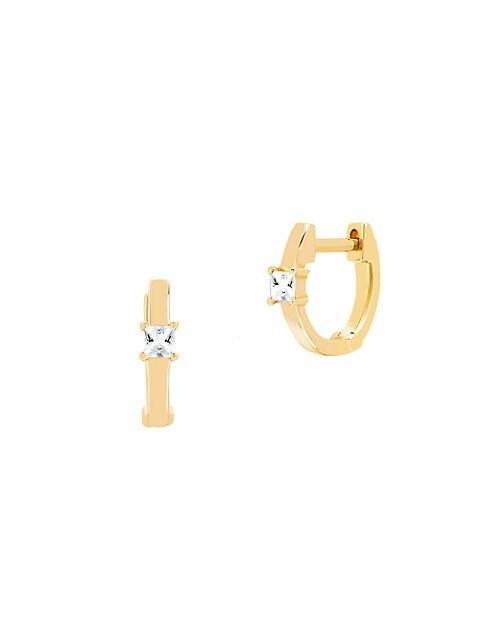14K Yellow Gold & White Quartz Princess Mini Huggie Hoop Earrings