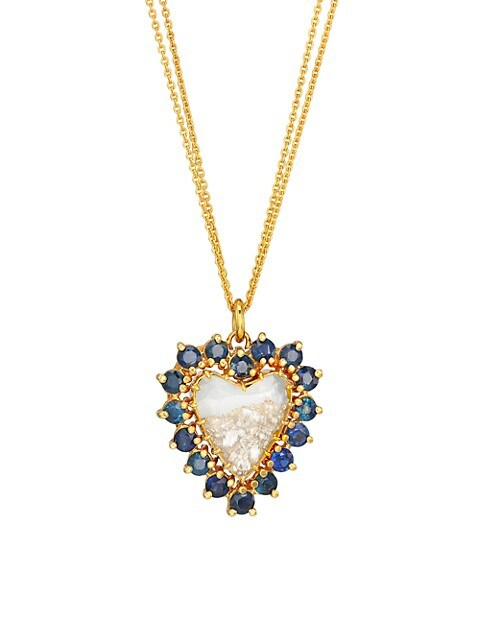 18K Yellow Gold, Antique Blue Sapphire & Diamond Shake Heart Pendant Necklace