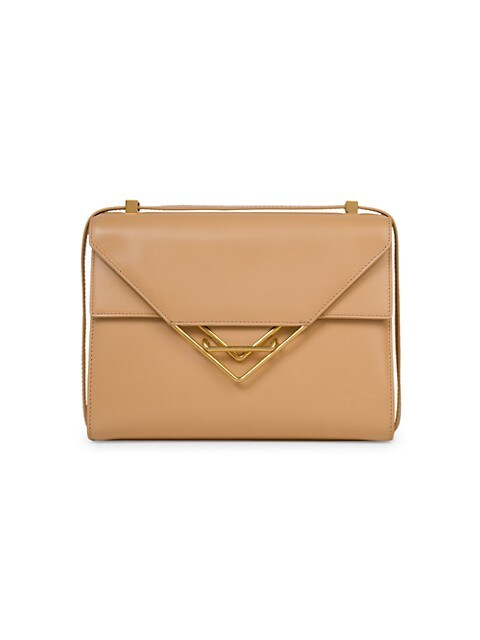 Clip Triangle-Closure Leather Crossbody Bag