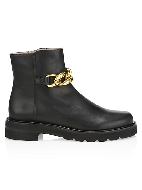 Lift Chain Leather Combat Boots