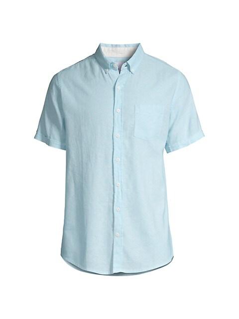 Stretch Linen-Blend Short-Sleeve Shirt