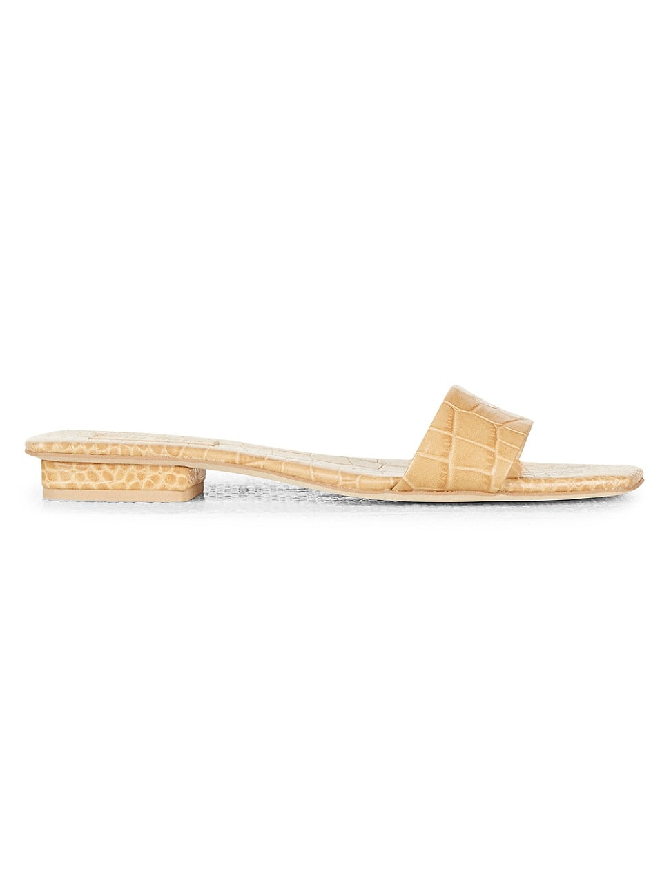 Cult Gaia Leathers WOMEN'S MAYA CROC-EMBOSSED LEATHER SLIDES