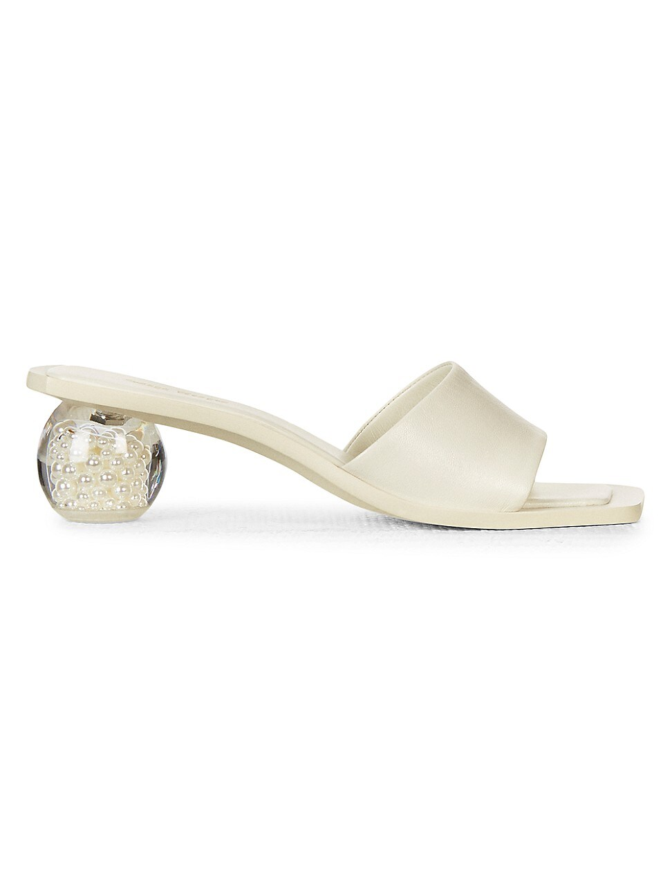 Cult Gaia Leathers WOMEN'S TAO FAUX PEARL BAUBLE-HEEL LEATHER MULES
