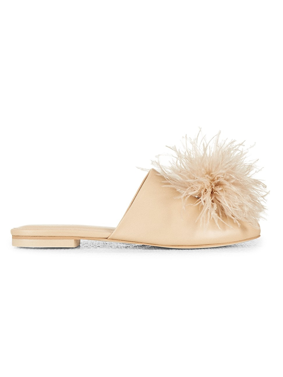 Cult Gaia WOMEN'S RAY FEATHER-TRIMMED LEATHER MULES