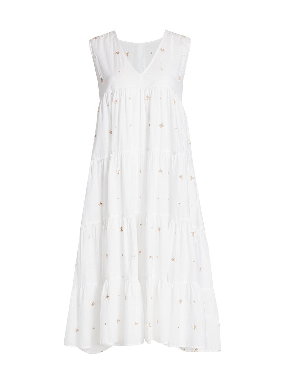 Merlette Women's Chelsea Tiered Embroidered Midi Dress In White Beige