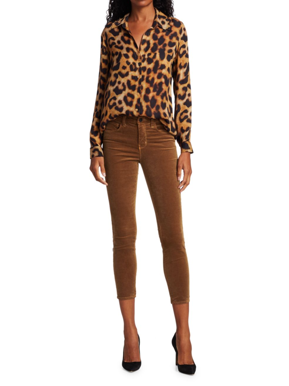 L'Agence Nina Silk Long-Sleeve Blouse   SaksFifthAvenue