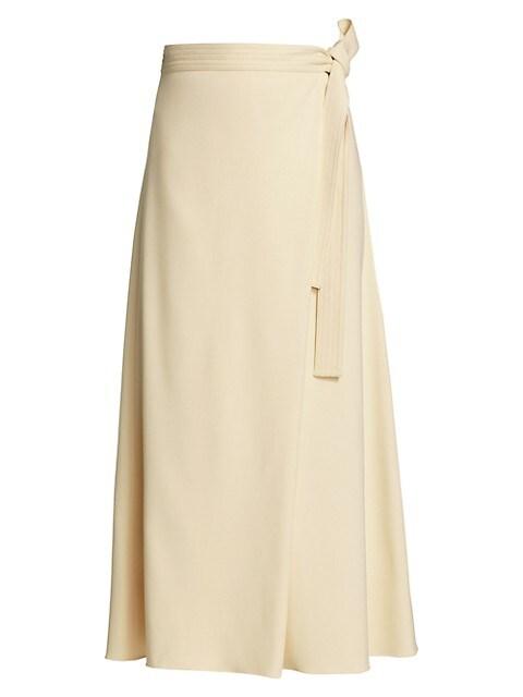Asymmetric Stretch Cady Apron Wrap Skirt