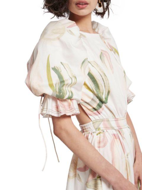 Aje Imprint Puff-Sleeve Mini Dress | SaksFifthAvenue