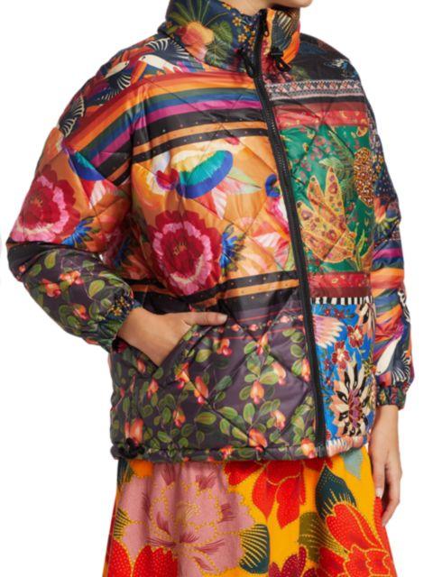 Farm Rio Mixed Scarves Reversible Puffer Jacket | SaksFifthAvenue