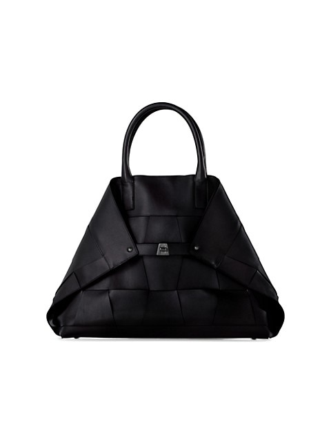 Small AI Braided Leather Tote