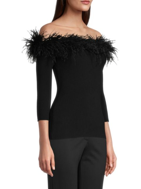 Milly Feather Off-the-Shoulder Knit Top   SaksFifthAvenue