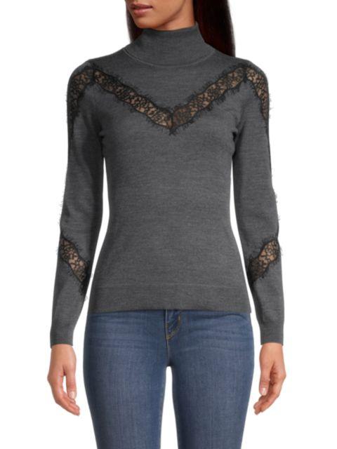 Milly Lace Insert Wool Turtleneck | SaksFifthAvenue