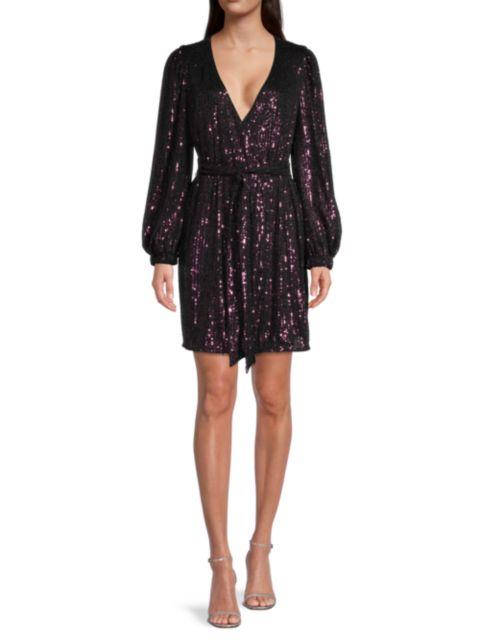 Milly Siena Sequin Wrap Dress   SaksFifthAvenue