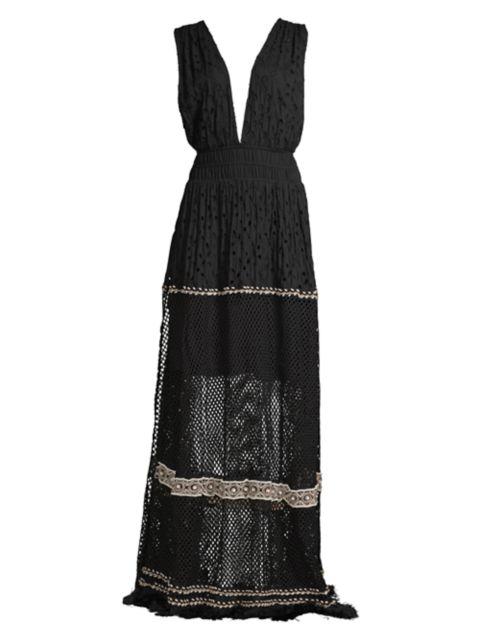Ramy Brook Lenora Sleeveless Deep V-Neck Mesh-Hem Maxi Dress | SaksFifthAvenue