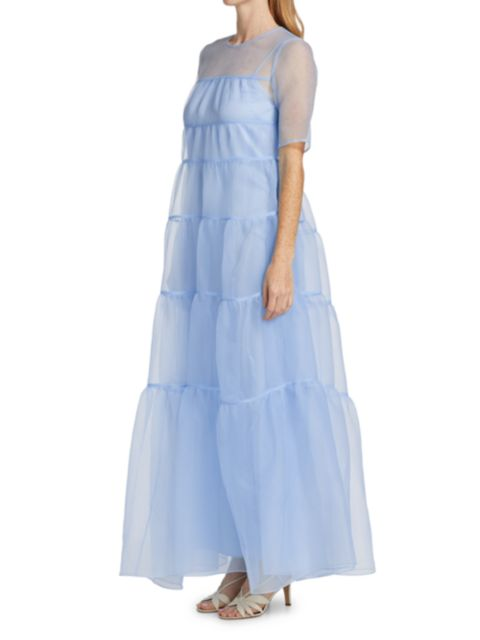 Staud Hyacinth Tiered Organza Dress   SaksFifthAvenue