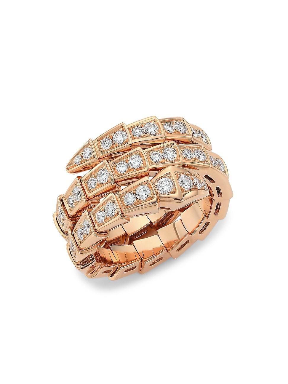 Bvlgari WOMEN'S SERPENTI VIPER 18K ROSE GOLD & PAVÉ DIAMOND 2-COIL RING