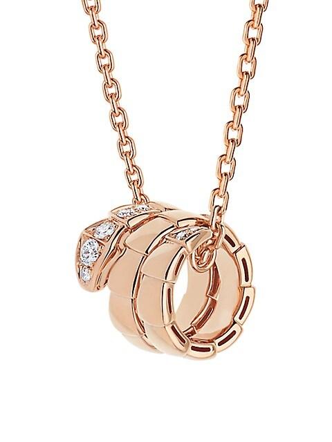 Serpenti Viper 18K Rose Gold & Pavé Diamond Pendant Necklace