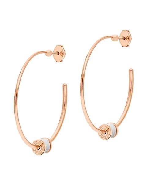 B.zero1 18K Rose Gold & White Ceramic Large Hoop Earrings
