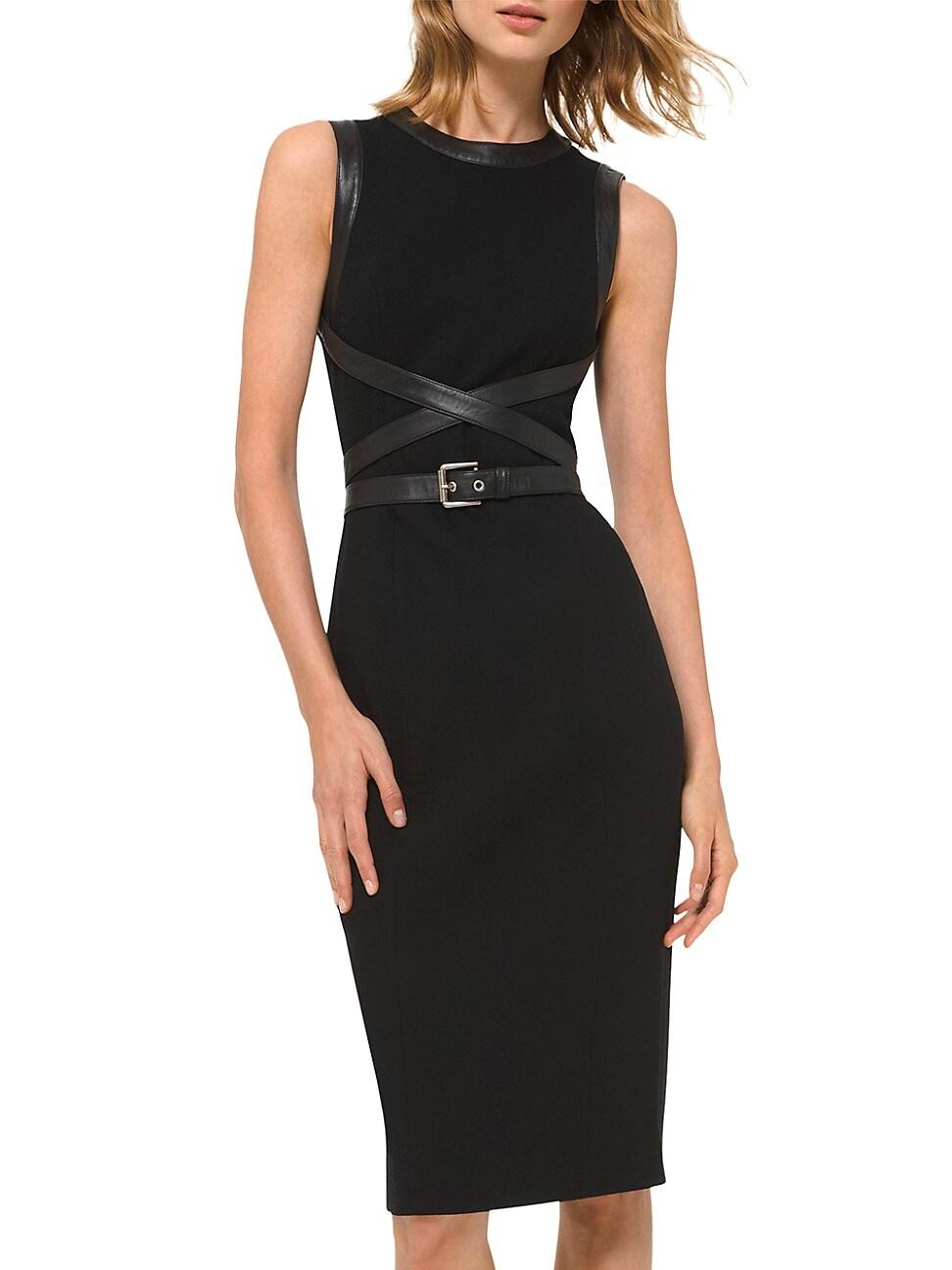 Michael Kors Women's Stretch Bouclé Crisscross Leather Belted Sheath Dress In Black Black