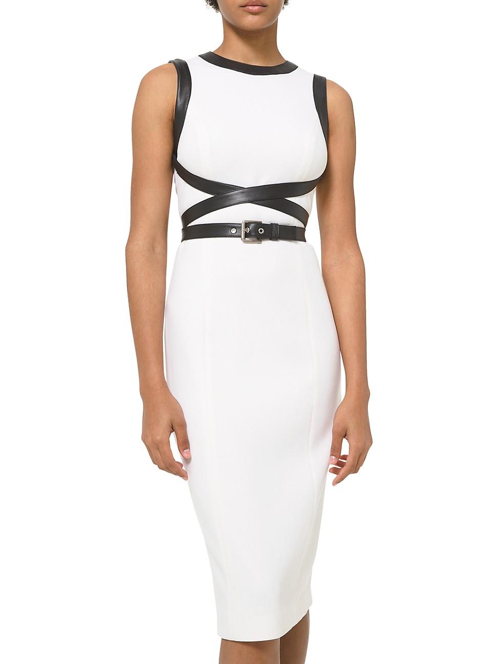 Michael Kors Women's Stretch Bouclé Crisscross Leather Belted Sheath Dress In White Black