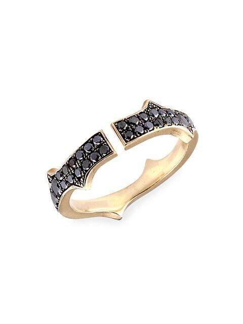 18K Yellow Gold & Black Diamond Knuckle Stack