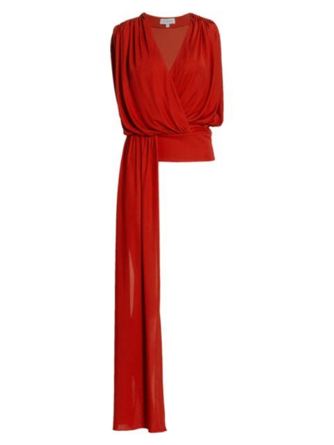 Halston Lyric Jersey Drape Top | SaksFifthAvenue