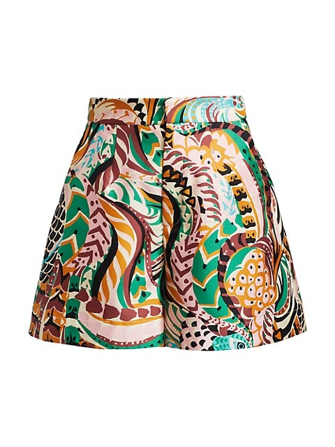 Printed Silk Wide-Leg Shorts