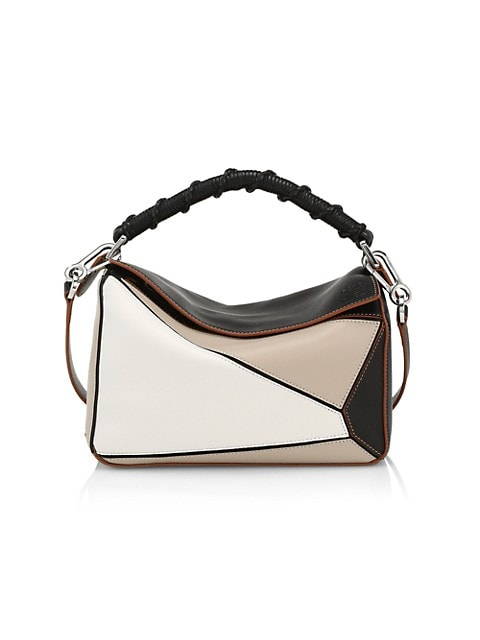 Small Puzzle Colorblock Leather & Cotton Bag