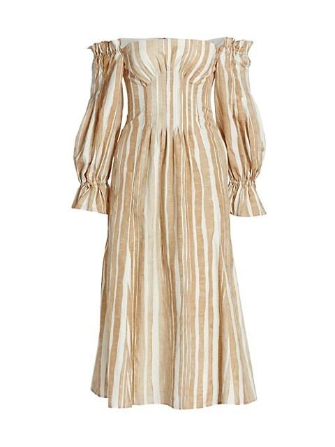 Ida Off-The-Shoulder Striped Midi Dress