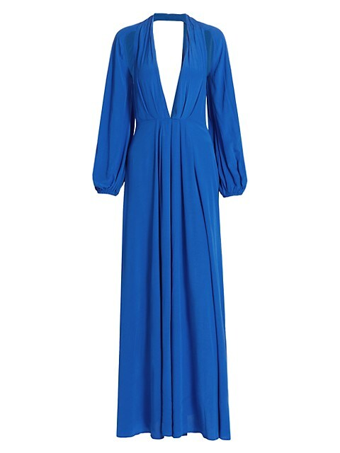 Hera Plunging Long-Sleeve Gown