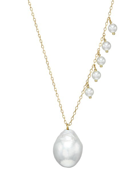 Sea Of Beauty 14K Yellow Gold, 3MM & 12MM White Pearl Necklace