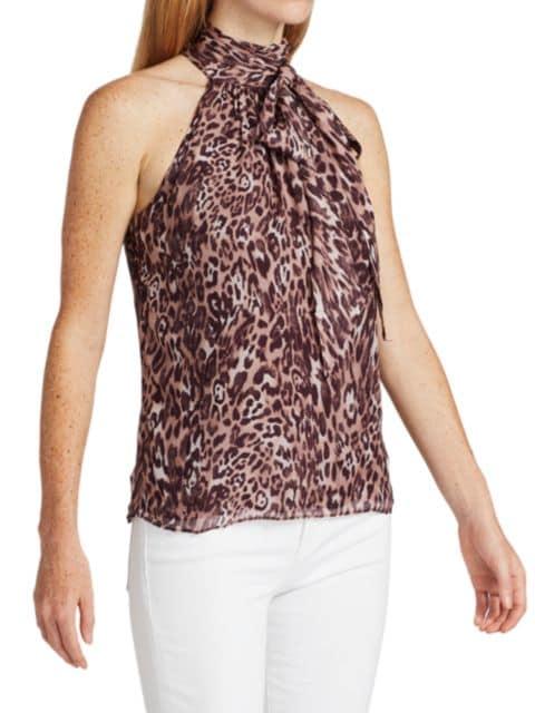 Ramy Brook Leopard Silk Halter Top   SaksFifthAvenue