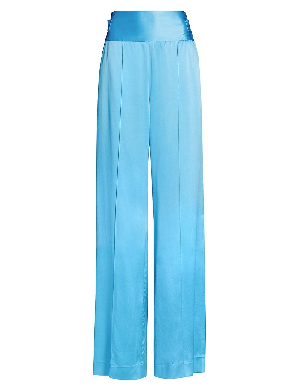 Alejandra Alonso Rojas Full-leg Satin Pants In Bright Blue