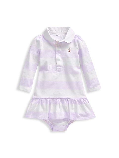 Baby Girl's Striped Polo Dress & Bloomers Set