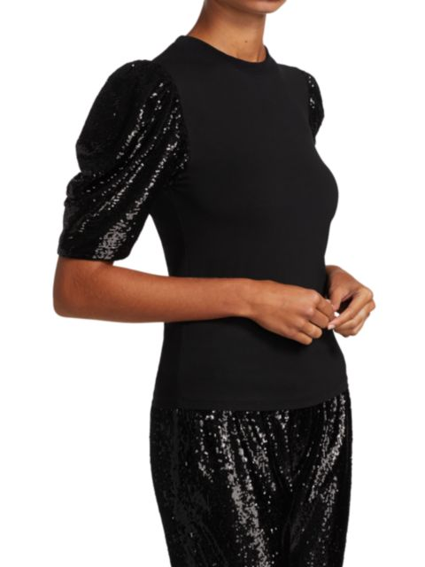 Cinq à Sept Kendra Sequin Puff-Sleeve T-Shirt | SaksFifthAvenue