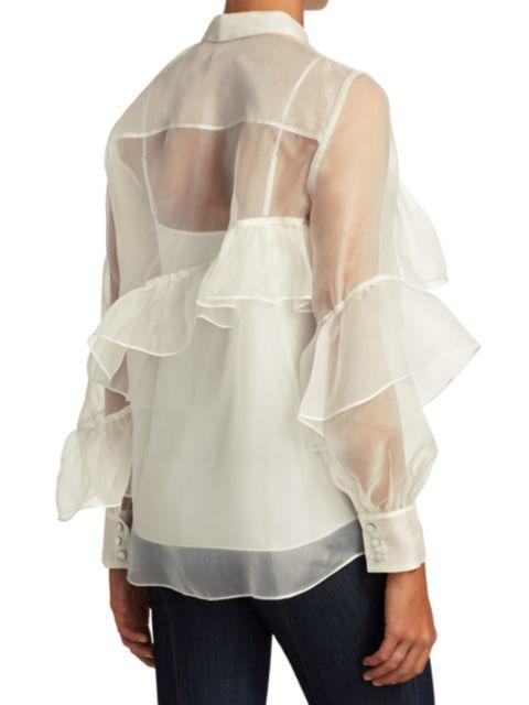Cinq à Sept Larissa Ruffled Silk Shirt | SaksFifthAvenue