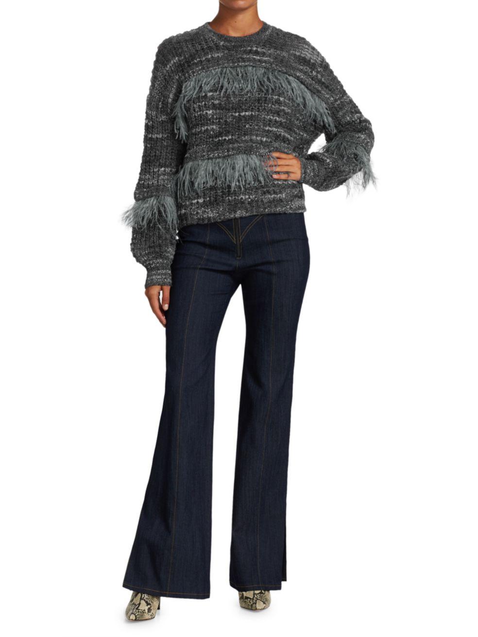 Cinq à Sept Melissa Feather-Trimmed Sweater   SaksFifthAvenue