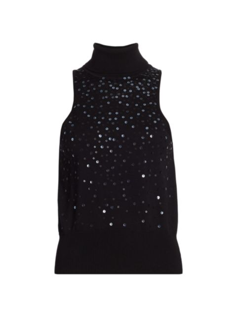 Cinq à Sept Carlene Sequin Cotton & Cashmere Sleeveless Sweater   SaksFifthAvenue