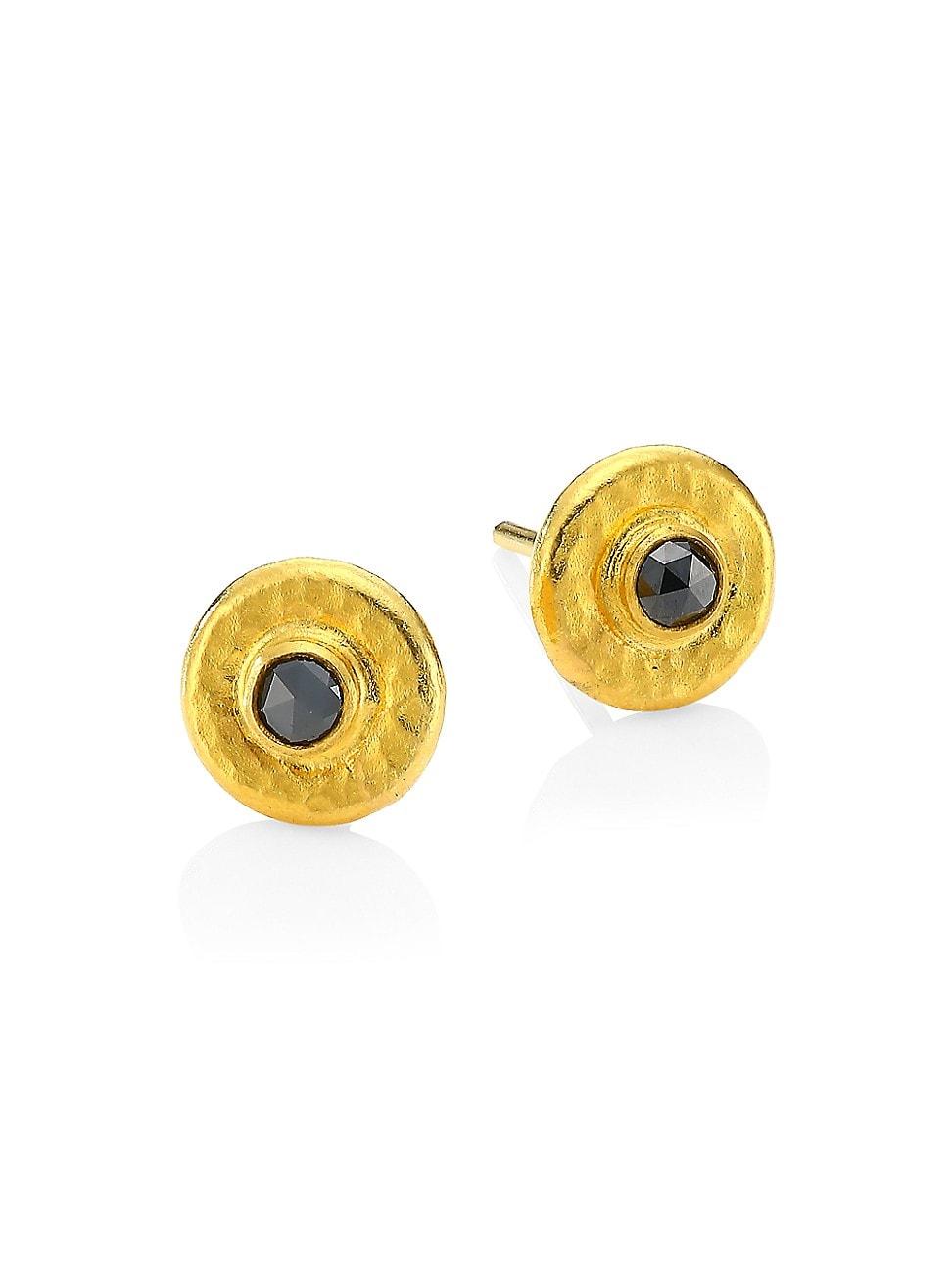 Gurhan WOMEN'S RAIN 24K YELLOW GOLD & BLACK DIAMOND STUD EARRINGS