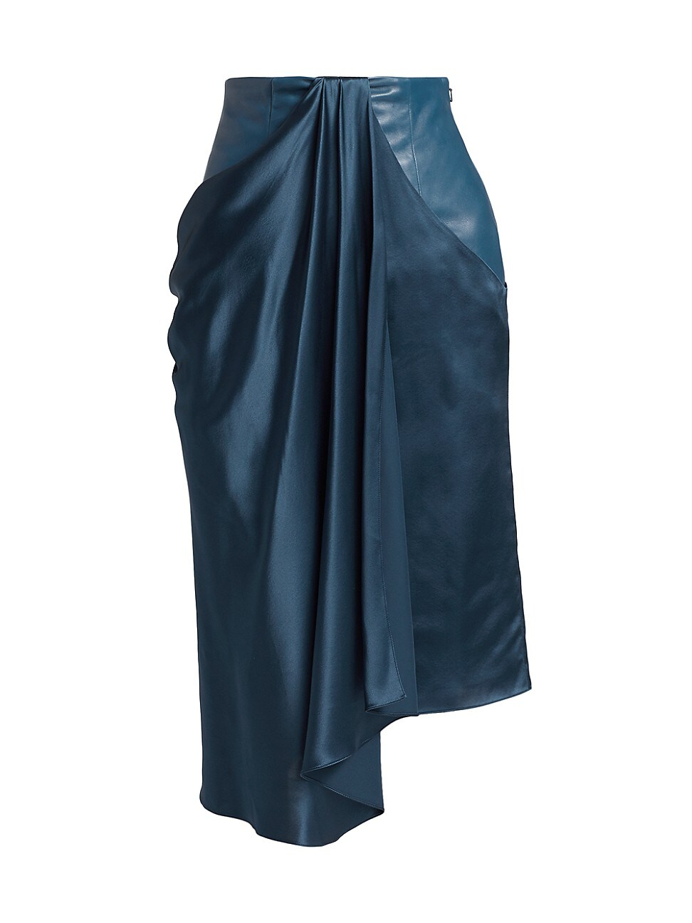 Alejandra Alonso Rojas Satin & Leather Draped Skirt In Blue