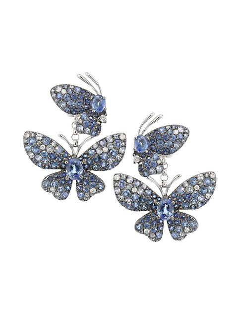 Butterfly 18K White Gold, Blue Sapphire & Diamond Drop Earrings