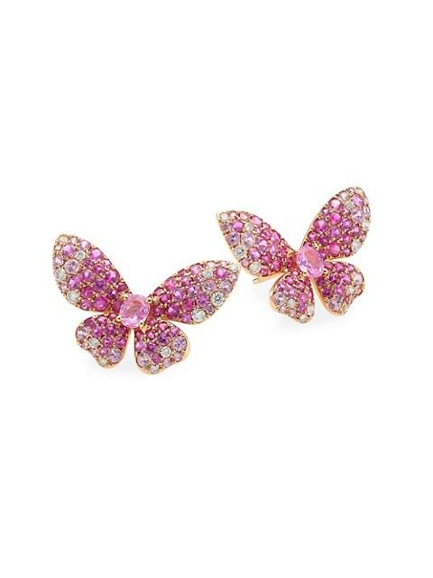 Butterfly 18K Rose Gold, Pink Sapphire & White Diamond Earrings