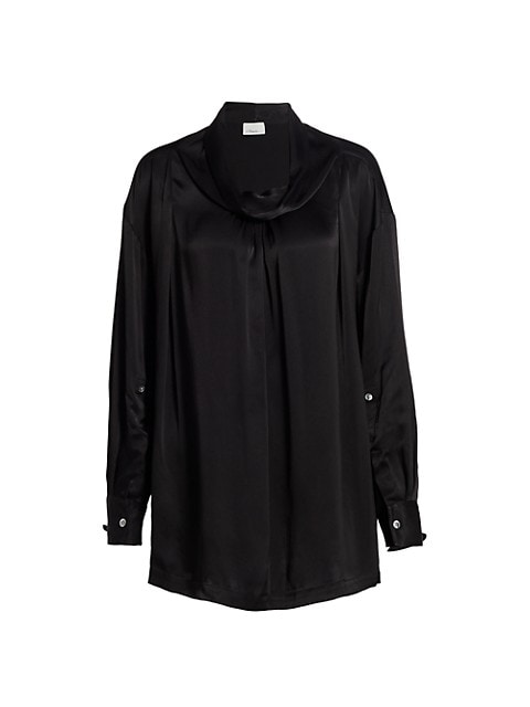 Satin Oversized Drape Collar Shirt
