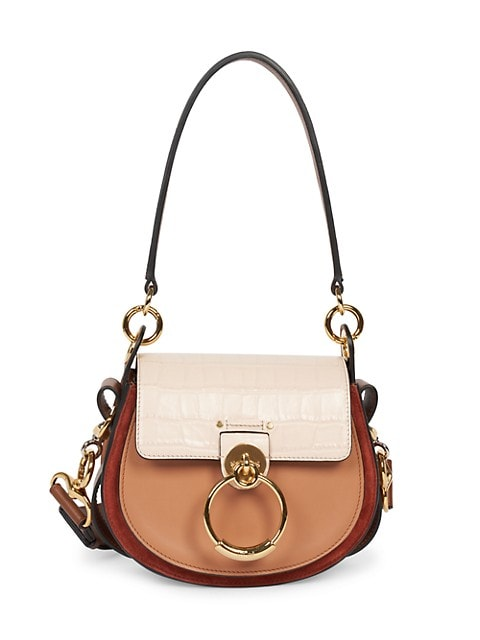 Small Tess Colorblock Leather Saddle Bag