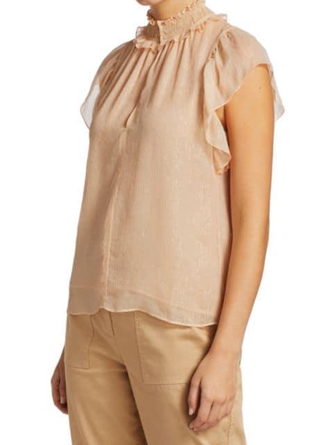 A.L.C. Hayley Silk-Blend Flutter-Sleeve Top   SaksFifthAvenue