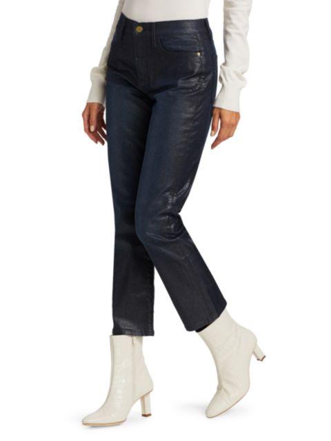 Frame Le High Straight-Leg Lizard Coated Jeans   SaksFifthAvenue